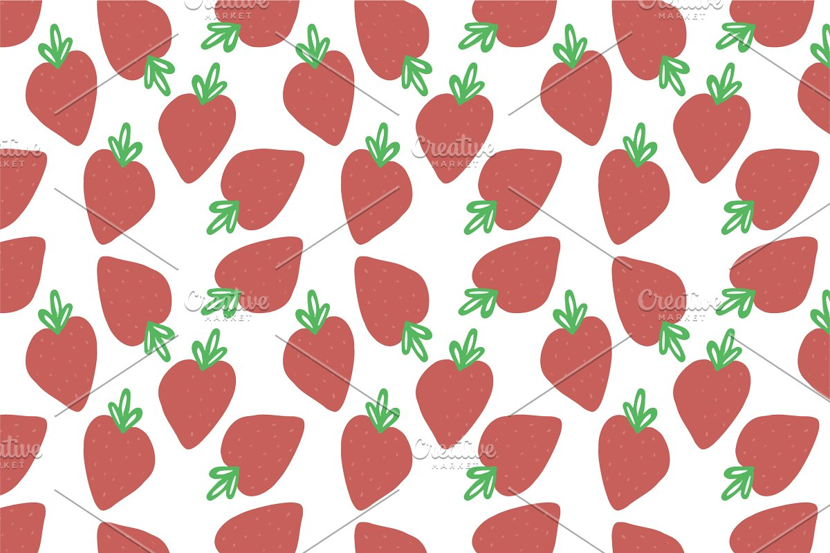Scattered Strawberry Pattern