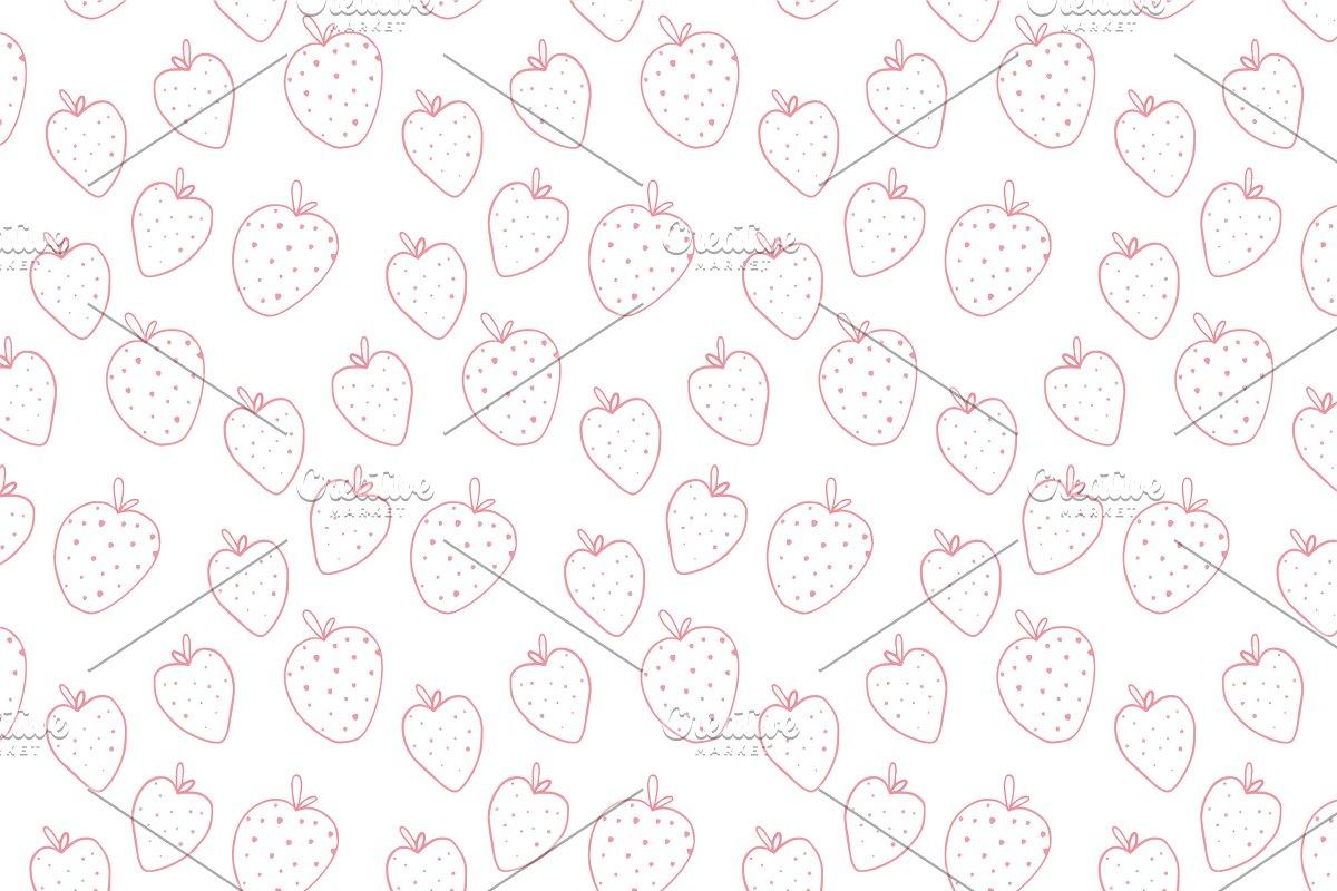 Strawberry Line Art Pattern