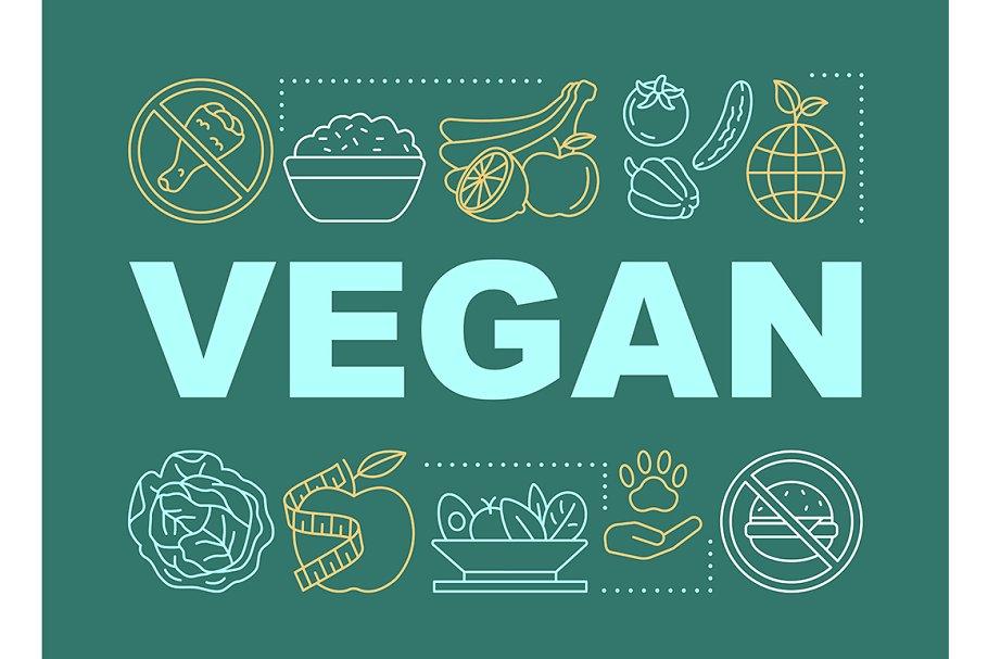 Vegan nutrition word concepts banner