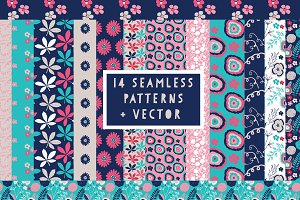 Pink & Navy Seamless Pattern Set