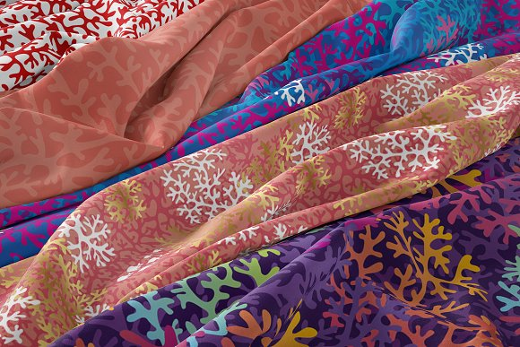 Ocean coral silhouette patterns in Patterns - product preview 1