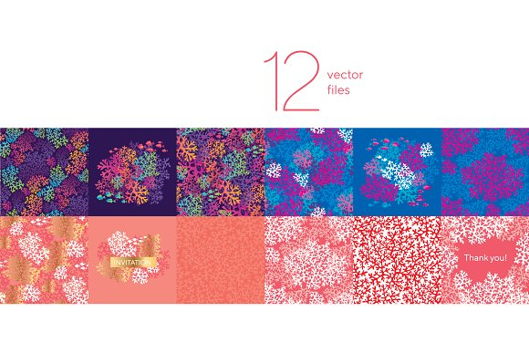 Ocean coral silhouette patterns in Patterns - product preview 2