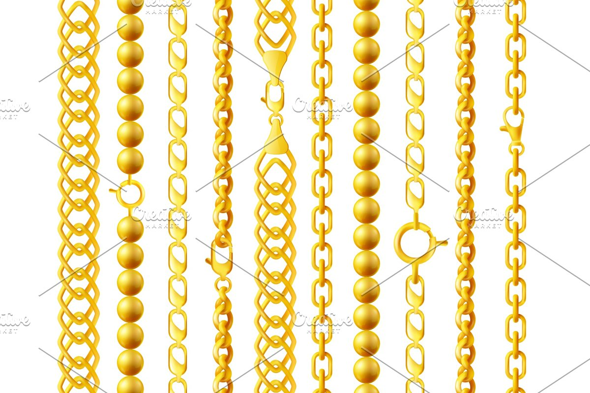 Realistic gold chain set with