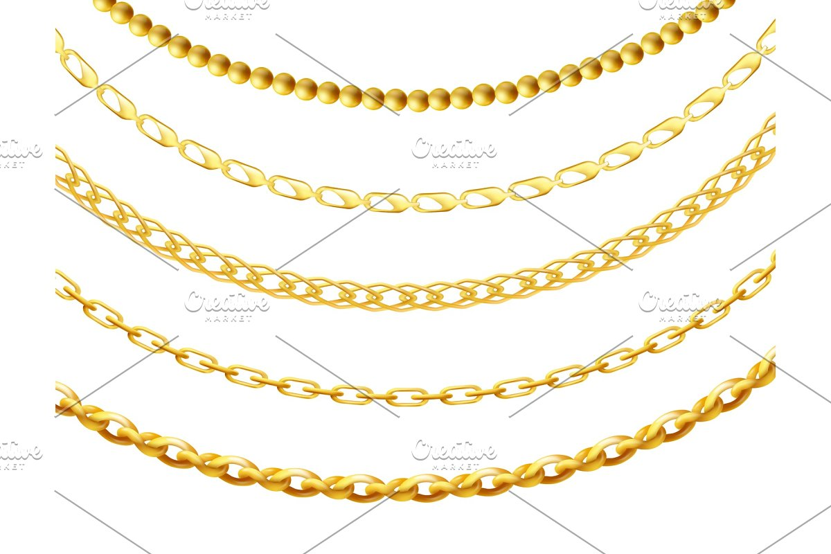 Metal gold chain set isolated on in Objects