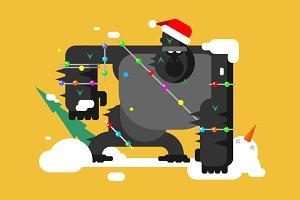 Christmas gorilla character