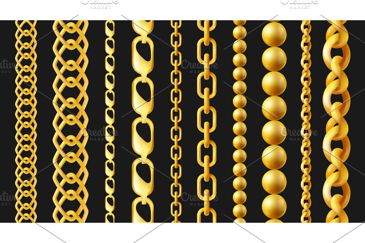 Realistic gold chain set isolated on
