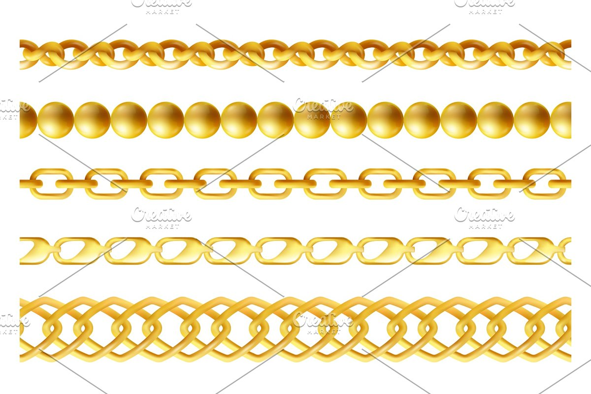 Gold chains seamless borders set