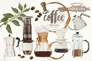 Watercolor coffee brewing methods