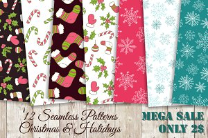 Christmas Patterns Set Vector