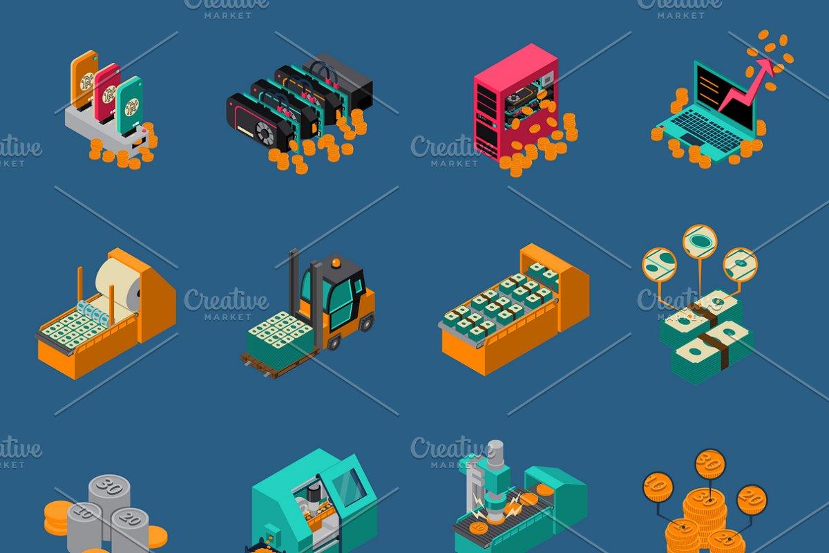 Money manufacturing isometric icons