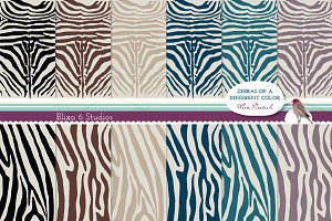 Zebra Striped Digital Paper Patterns