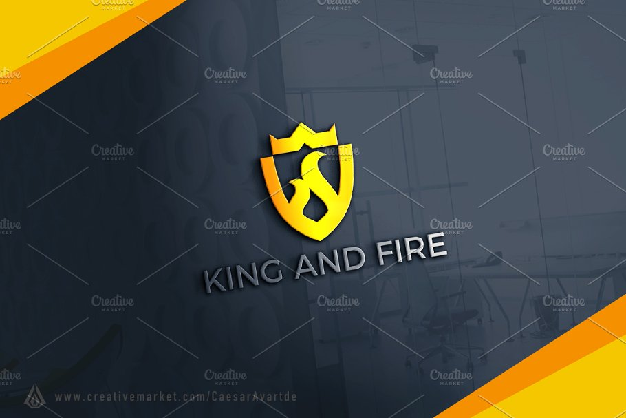 King And Fire Shield Logo Template
