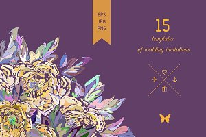 15 wedding cards. EPS/JPG/PNG