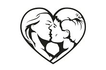 Couple kissing in the heart symbol