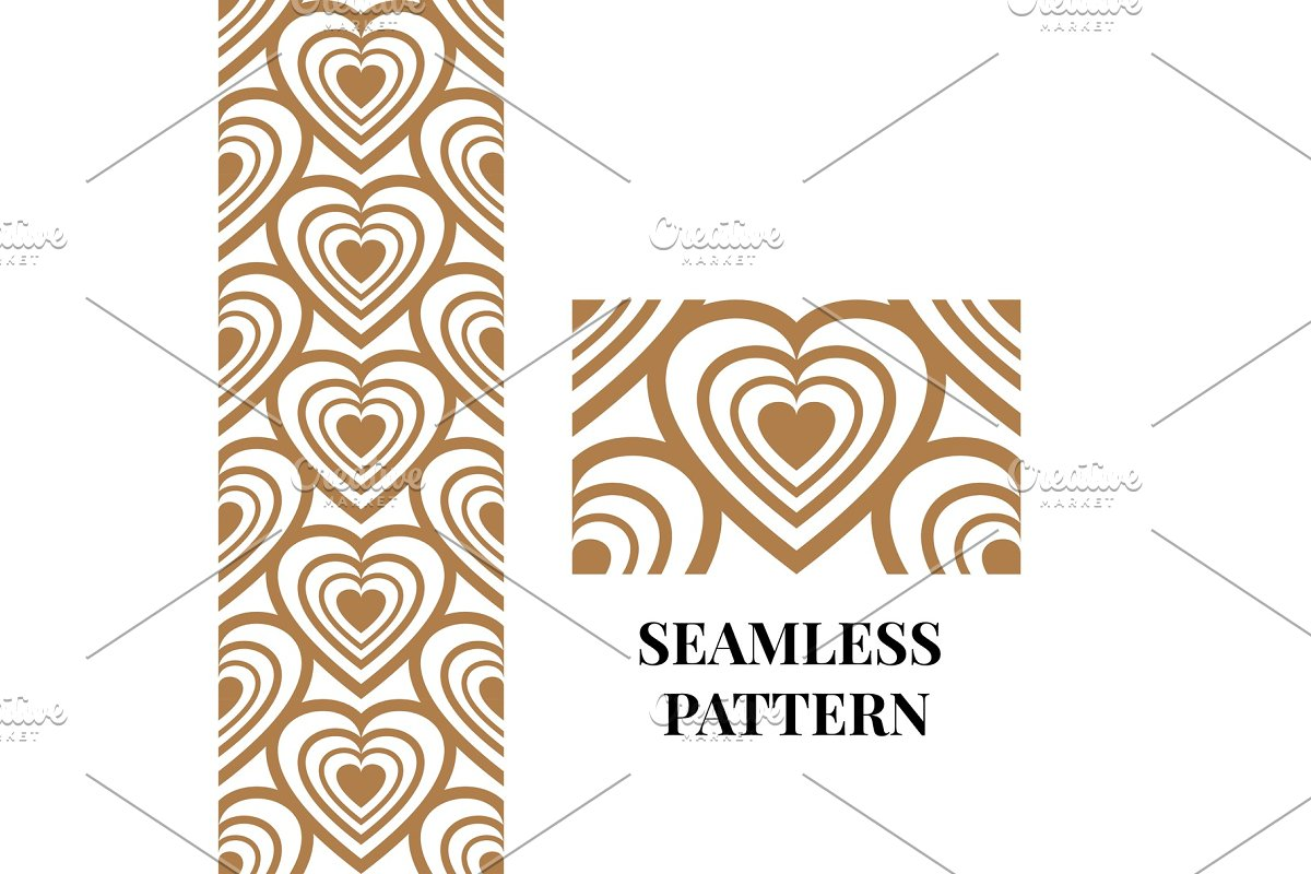 Golden heart icon seamless border