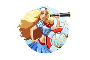 Sailor girl with pipe and rescue ring