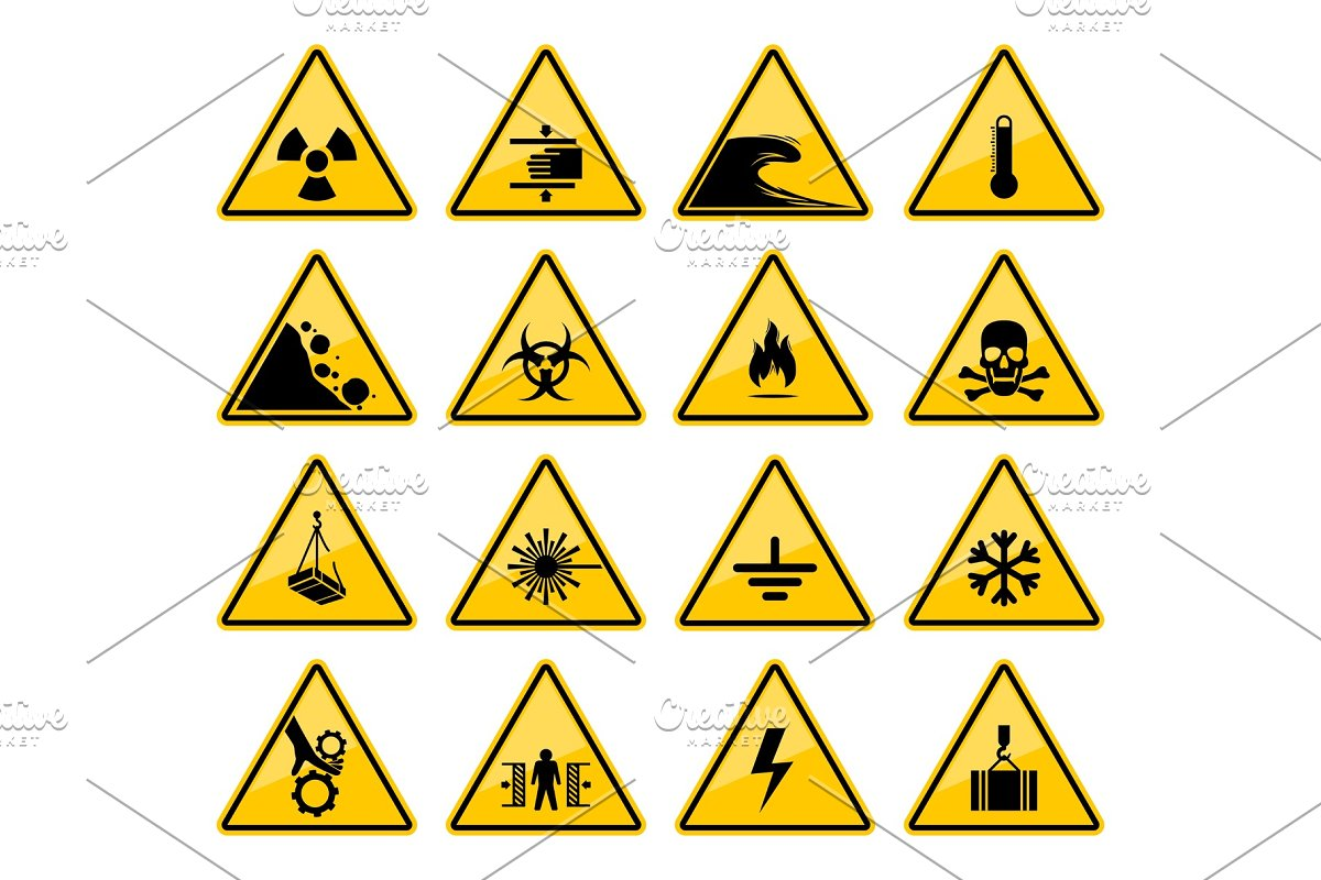Warning signs, danger caution