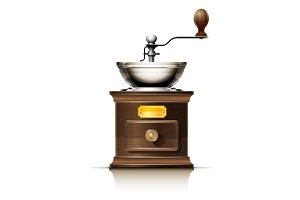 classic coffee grinder in wooden case