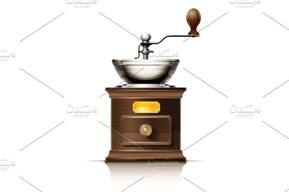 Princess Classic Coffee Maker And Grinder : classic coffee grinder in wooden case ~ Illustrations ~ Creative Market