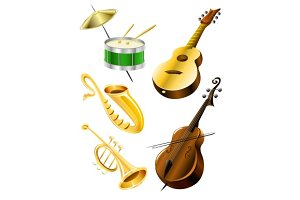 Drum, guitar, tramble, sax, kontrabas music instruments