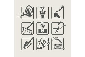 Garden tools. Icons set