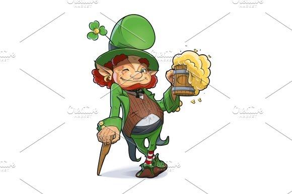 Dwarf with beer. Illustration for saint Patricks day. - Illustrations