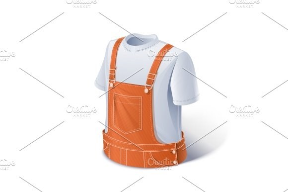 Shirt and overalls. Workers clothes. - Illustrations