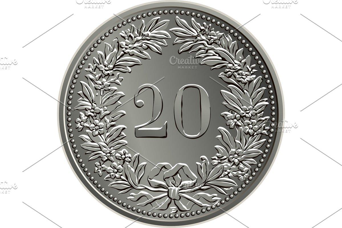 Swiss money coin 20 centimes reverse