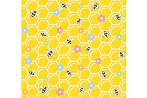 Bee on honeycomb. Seamless pattern.