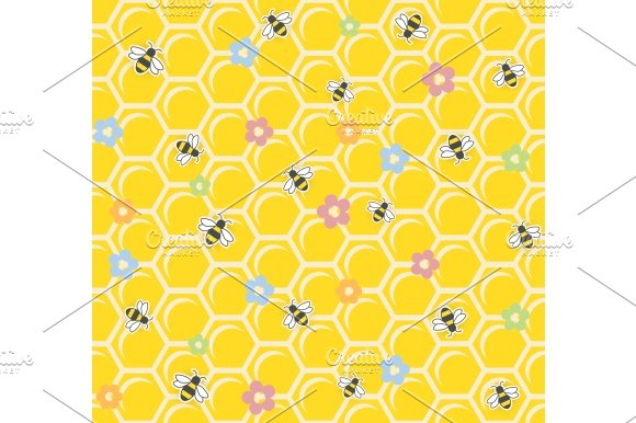 Bee on honeycomb. Seamless pattern. - Illustrations