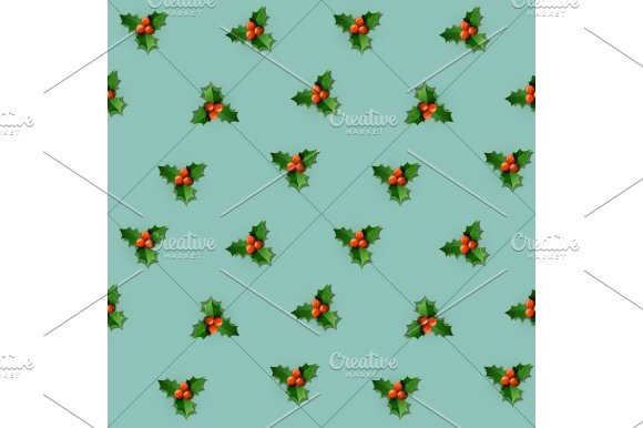 Holly berry with leaves. Christmas seamless pattern. - Patterns