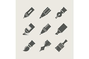 Pens and brushes for drawing. Set of simple icons