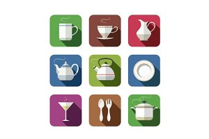 kitchen tableware set of simple icons