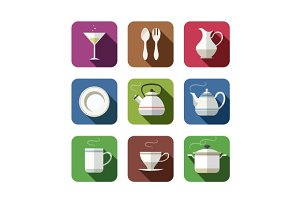 kitchen tableware set of icons