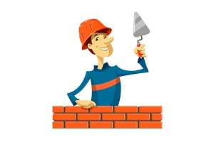builder with trowel