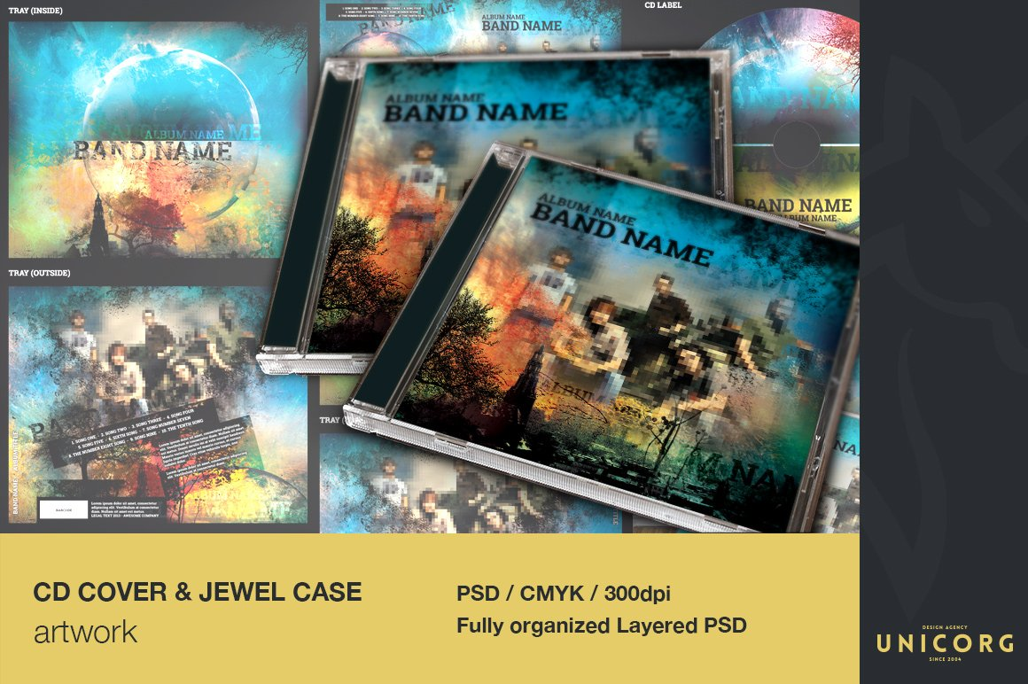 cd case artwork template - music cd cover artwork templates creative market