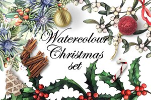 Watercolour Christmas set