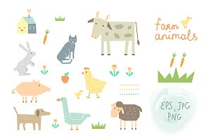 Farm Animals Clipart & Vector