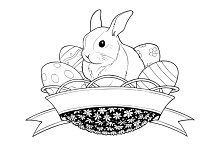 easter bunny rabbit in basket with eggs