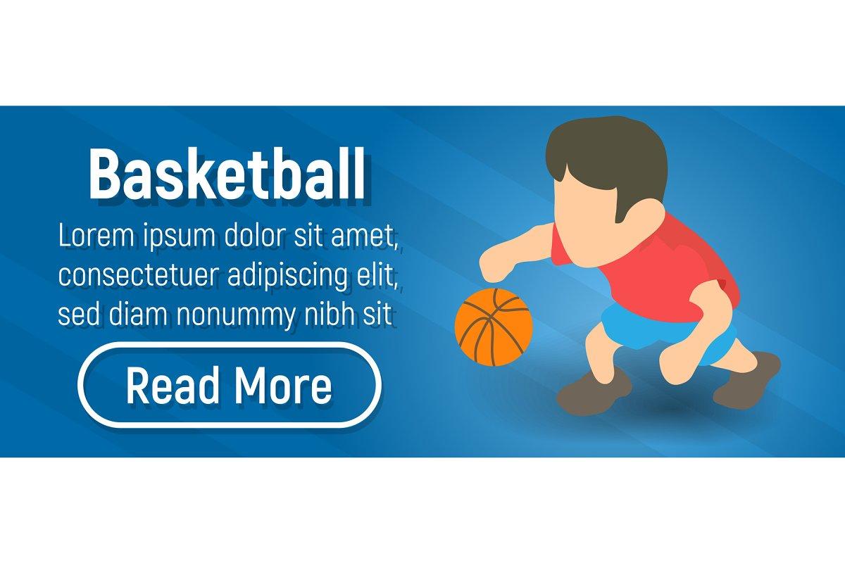 Basketball concept banner, isometric