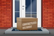 Contactless delivery box on doorstep