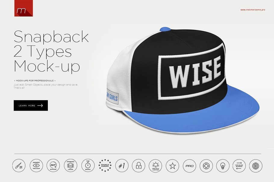35669cd341f Snapback Cap Mock-up ~ Product Mockups ~ Creative Market