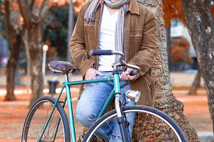 Man with old bike