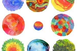 circle acrylic and watercolor paint