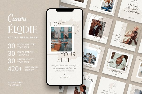 Elodie - Canva Social Pack 50% OFF