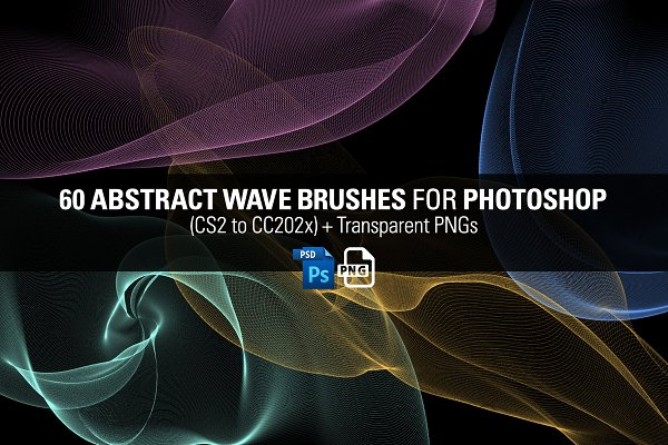 60 Abstract Wave Brushes for PS