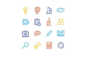 Science Outline  Icons Set.