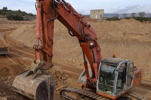 Excavator orange machinery
