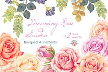 Dreaming Rose Garden Watercolor