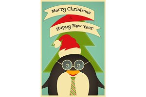 Merry Christmas greetings with pengu